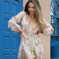 Sweetness Gold Lace Sequin Romper
