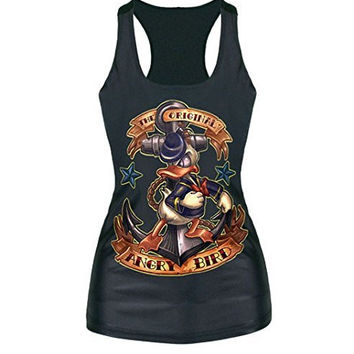 "Womens ""Angry Bird -Modern Daffy Duck) Shiny Tank Top with Razor Back"