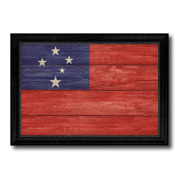 Western Samoa Country Flag Texture Canvas Print with Black Picture Frame Home Decor Wall Art Decoration Collection Gift Ideas