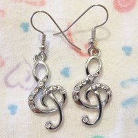 Gorgeous HYPOALLERGENIC Surgical Steel Clear Crystal TREBLE CLEFT Music Note Earrings