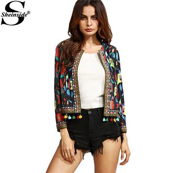Sheinside Black Tribal Print Tassel Trim Outerwear With Embroidered Tape Detail Fall Women Long Sleeve Coat