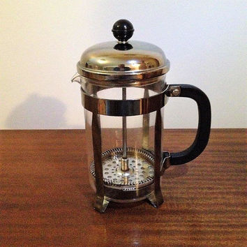 Vintage 1970s Pyrex 4 Cup French Press Coffee Maker / Retro Glass Coffee Plunger / 1 Litre Coffee Pot