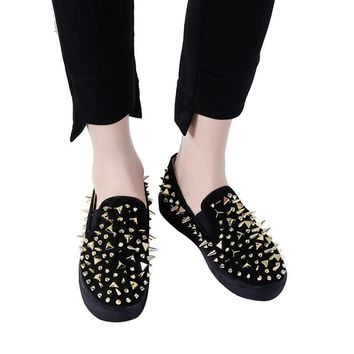 Flat Platform Studded Rivets Punk Loafers Slip On Shoes