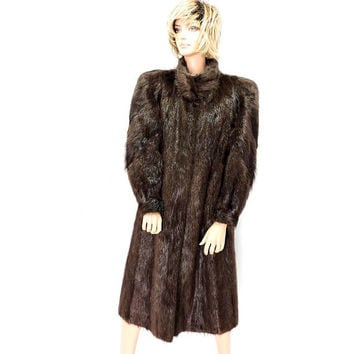 Vintage full length Beaver fur coat / luxurious natural long haired beaver fur coat / gorgeous sheen / long brown beaver coat