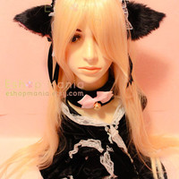 Black CAT ears ears LOLITA maid Lace HEADBAND, w ribbons, long fur Costume Cosplay Party, for child n adult