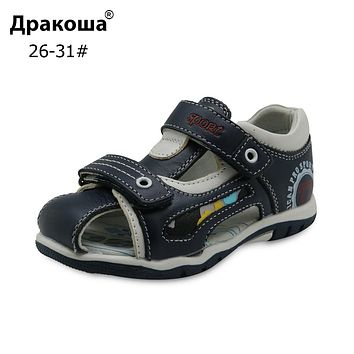 New Boys Sandals Genuine Leather Children's Shoes for Boys Flat Closed Toe Orthopedic Kids Sandals