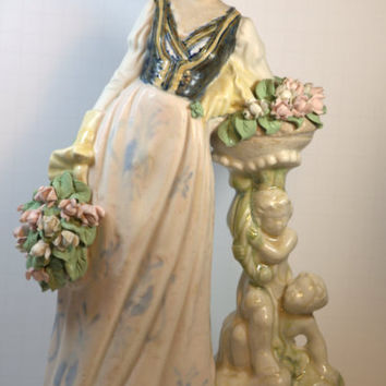 "Porcelana Artistica Levantina Antique Vintage Porcelain Tall 14.5"" Victorian Lady Figurine Spain"