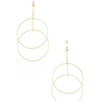 Cara Couture Jewelry Women's Double Circles Front/Back Earrings - Gold