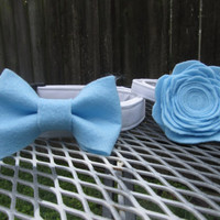 Wedding Dog Collar Set - Bow tie dog collar and Flower Dog Collar in Sky blue  - bow tie dog collar, flower dog collar