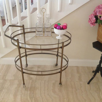 Vintage Brass Tea Cart Bar Hollywood Regency Style at Retro Daisy Girl