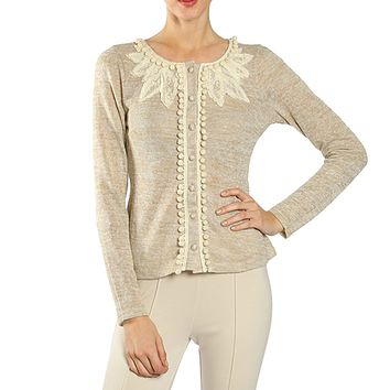 Lace Accent Jacket with PomPom Trim