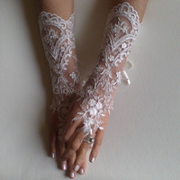 Long Ivory Wedding gloves silver frame bridal gloves lace gloves fingerless gloves ivory gloves french lace gloves free ship
