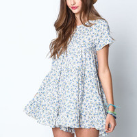 BLUE FLORAL TIERED RUFFLE ROMPER