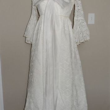 Vintage 1950's Wedding Dress / Lace Party Dress / Chiffon Bow Bombshell Prom Dress