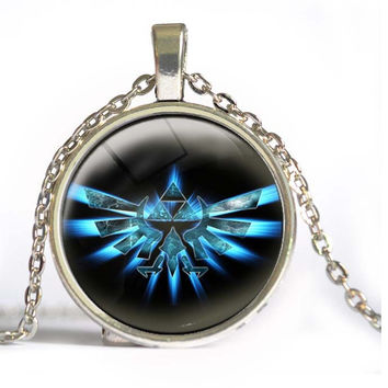Zelda Triforce Necklace Legend of zelda pendant personality silver round glass dome necklace Jewelry women men 2015 B2