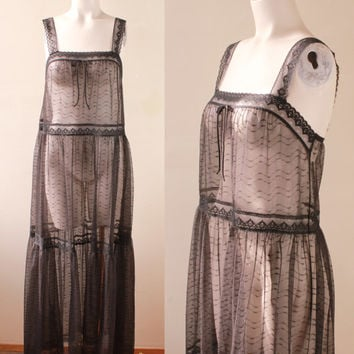 Vintage - 60s Deena - See Through - Black Lace - Paneled - Nightgown - Long Nightie - Lingerie - Bridal