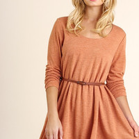 Layered Fall Dress - Rust