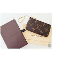 Louis Vuitton LV Hot Sale Popular Leather Zipper Key Pouch Clutch Bag Coin Purse Wristlet I/A