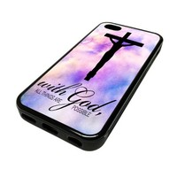 For Apple iPhone 5C 5 C Case Cover Skin God Cross Religious Jesus Quote Ombre Cute DESIGN BLACK RUBBER SILICONE Teen Gift Vintage Hipster Fashion Design Art Print Cell Phone Accessories