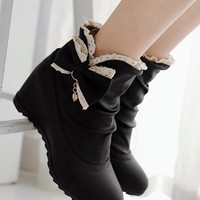 New Women Black Within The Higher Bow Sweet Ankle Boots