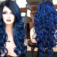 "U.S.A. // 23"" Dark Blue Wavy HEAT Ok Lace Front & Skin Part Ombre Wig w/ Pastel Black Dark Roots"