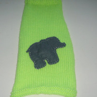 Chihuahua clothes, small dog clothes, Cat Sweater bright green knitted with a baby Elephant shape hand sewn