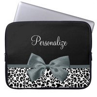 Sophisticated Leopard Print Gray Bow With Name Laptop Computer Sleeve