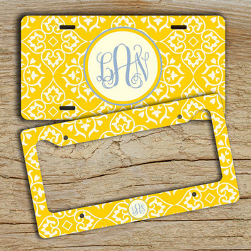 Monogrammed license plate or frame - Bright yellow pattern periwinkle blue monogram - personalized gift car tag bike license plate (9913)
