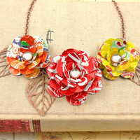 3 Tea Rose Statement Necklace.  Recycled Soda Can Art.  Bold and Beautiful. Coca Cola