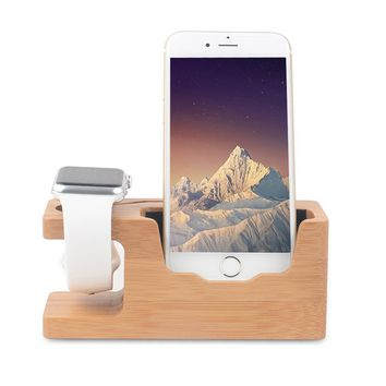 Apple Watch Stand, Ovtel Bamboo Wood Charging Bracket Docking Station StockCradle Holder for iPhone 7 and iwatch Series 1 and 2 of 38mm 42mm