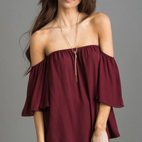 Nina Burgundy Off the Shoulder Blouse