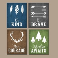 WOODLAND QUOTE Wall Art,Woodland Nursery Decor,CANVAS or Print,Rustic Nursery Decor,Be Brave Be Kind Have Courage,Tribal Quotes,Set of 4