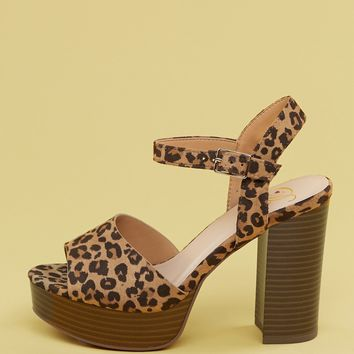 Cheetah Ankle Strap Platform Chunky Heel Sandals
