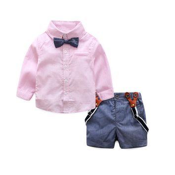 gentleman formal baby boys clothing sets infant spring autumn tie shirt+overalls party wedding two-piece suit boys clothes