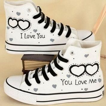 DCCKIX3 I Love You High Upper Plimsolls for Couples, Hand Painted Shoes.