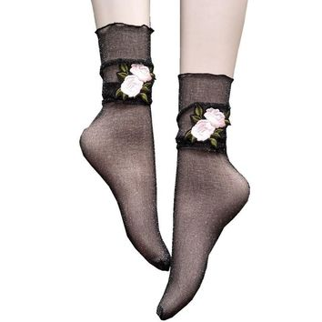 New Style Sexy Rose Embroidery Pattern Sheer Ankle Socks Glitter Silk Chaussettes Femmes Transparent Socks
