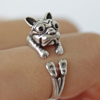 bulldog ring, french bulldog, dog ring, animal wrap ring, vintage ring, adjustable ring, animal ring, puppy ring, unique ring, man ring