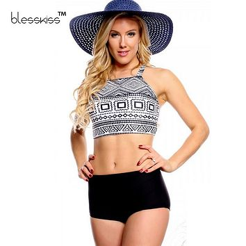 BLESSKISS 2016 Bikinis Women Swimwear High Waist Swimsuit Plus Size Swimwear Crop Top High Neck Bikini Set Retro Bathing Suits