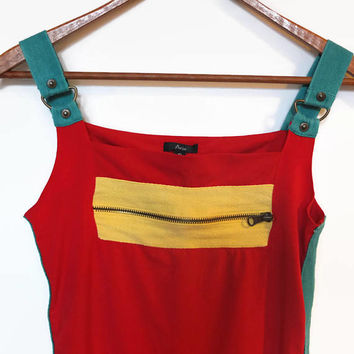 90s vintage red zipper tank top, color block tank, red green yellow, copper tone hardware, zipper front, street style, sporty, club kid, y2k