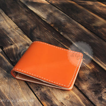 Men's leather wallet minimal wallet billfold leather wallet slim wallet orange leather wallet genuine leather wallet Italian leather wallet