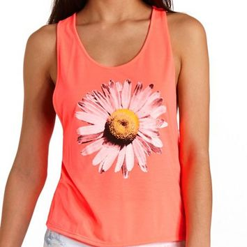NEON OPEN BACK DAISY GRAPHIC TANK TOP