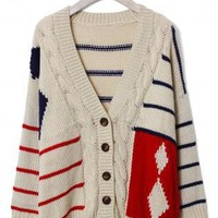 Cable Knit Sweater with Contrast Stripe & Diamond Pattern