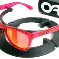 Oakley Acid Pink Frogskins Sunglasses with Custom Dark Fire Red Polarized Lenses