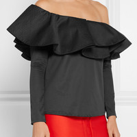 Johanna Ortiz - Lazarote mesh-paneled ruffled cotton-blend top