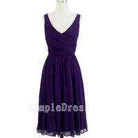 Beach V-neck Sleeveless Knee-length Chiffon Pleated Cheap Bridesmaid/Evening/Party/Homecoming/Prom/Cocktail Dress 2013 New Arrival