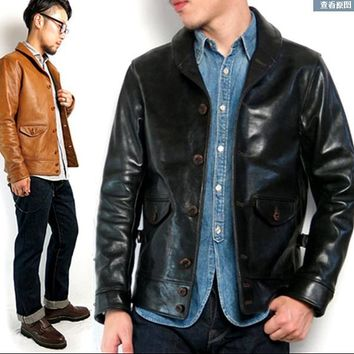 Free .Brand new horsehide clothing,man's 100% genuine leather Jackets,fashion men's slim japan style jacket,