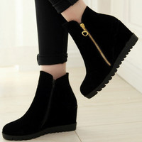 New Arrival Women Ankle Boots Solid Color Autumn Winter Boots y Hideen Heel Snow Boots Alternative Measures