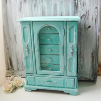 Aqua Beach Chic Jewelry Box, Teal and White Distressed Jewelry Holder, Shabby Chic Jewelry Box, Cottage Chic, Necklace Holder, Gift Ideas