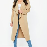 Missguided - Camel Oversized Waterfall Duster Coat
