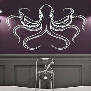 Octopus Wall Decal Tentacles Fish Deep Sea Ocean Animals Vinyl Sticker Decor C90